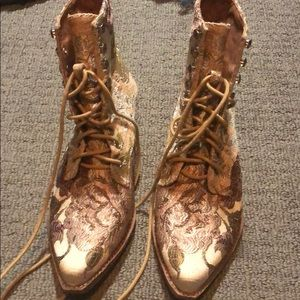 Victorian Floral Design Ankle Boots